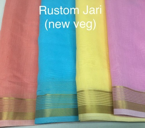 Chanderi Rustam Jari Gadhwal Fabric