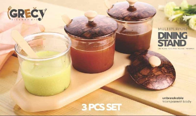 3PC Wooden Chutney Tray 03