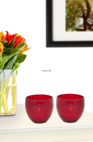 Red Pair Glass Candle Tea Light Holder