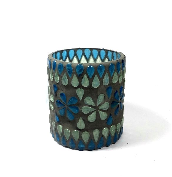 Grey Mosaic Glass Candle Holder