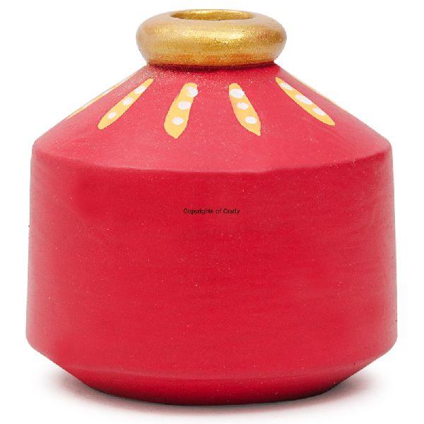 Terracota Painting Wood Made Miniature Multipurpose Matka Pot