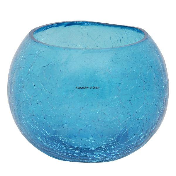 Blue Glass Candle Tea Light Holder