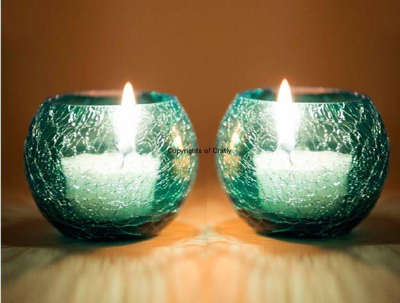 Blue Pair Glass Candle Tea Light Holder