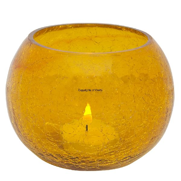Yellow Glass Candle Tea Light Holder