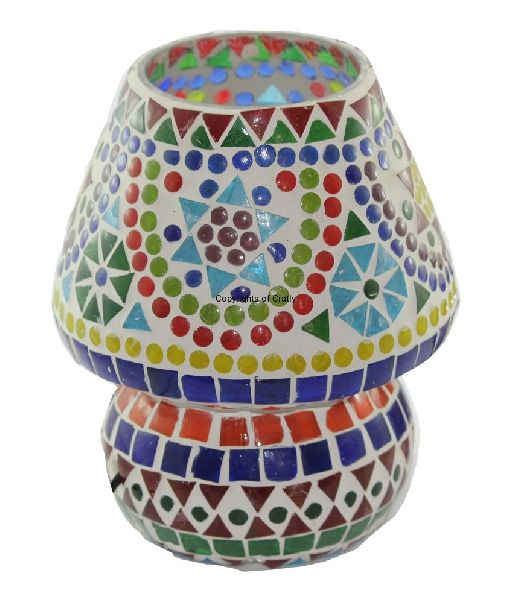 Multi Color Mosaic Glass Candle Holder