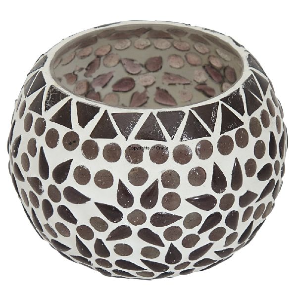 Black White Mosaic Glass Candle Holder