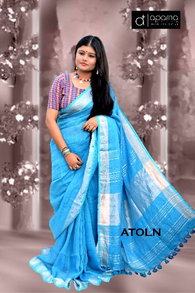 Plain Linen Saree 02