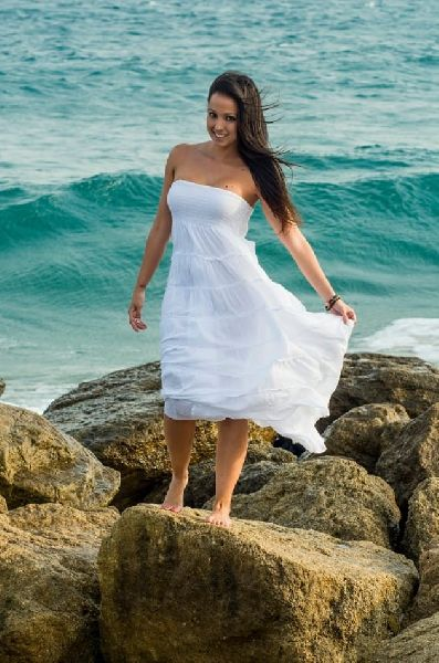 White Strapless Cotton Dresses