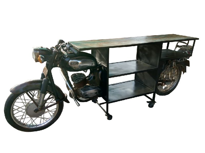 Reclaimed Wood Moter Cycle Bar Counter Table