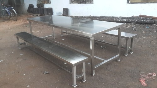 Stainless Steel Bench With Stool