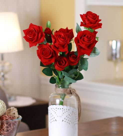 Artificial Red Rose Flowers