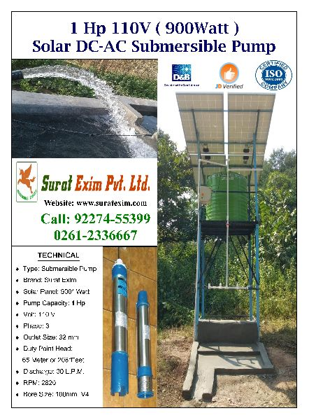 1Hp 110V Solar Borewell Submersible Pump