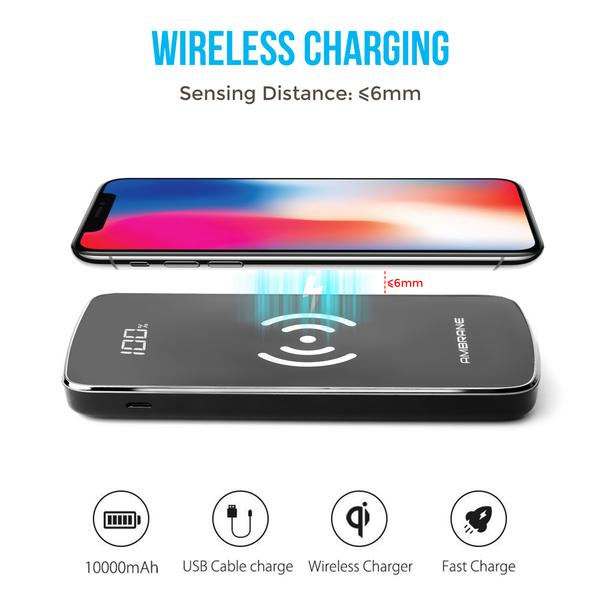 PW-11 10000 mAh Wireless Power Bank with Qi Charging Technology