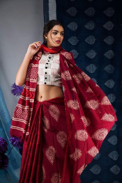 Cotton Printed Mulmul Saree