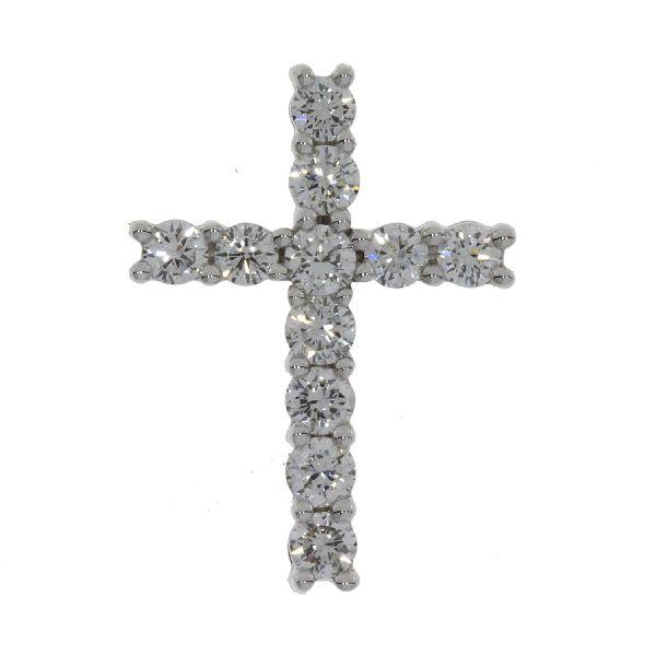 1.00ct Diamond & 18KT White Gold Cross Religious Pendant