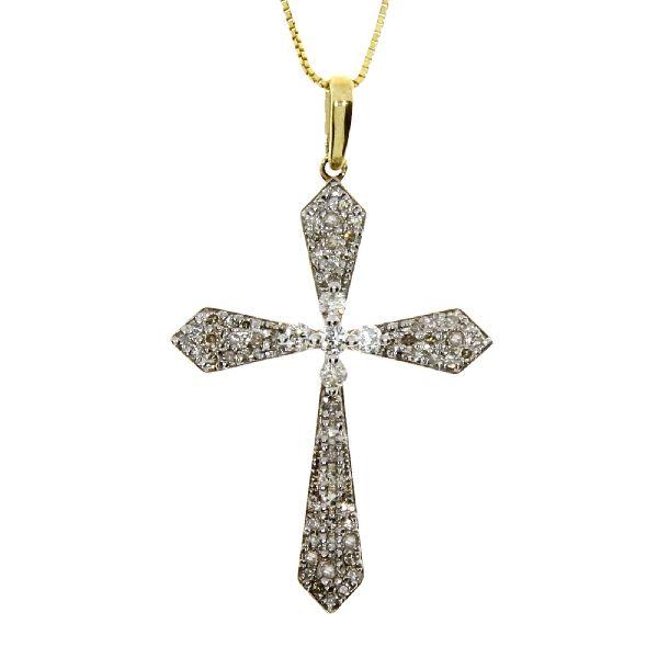 .33 Ct Diamond & 10KT Yellow Gold Cross Religious Pendant