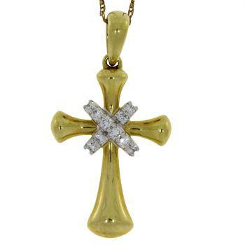 .12 Ct Diamond & 18KT Yellow Gold Cross Religious Pendant