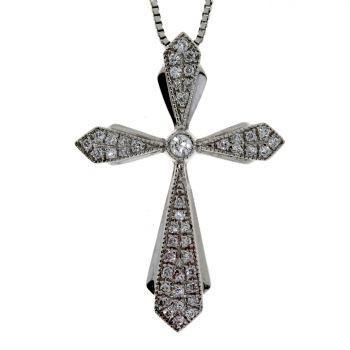 .13ct Diamond & 18KT White Gold Cross Religious Pendant