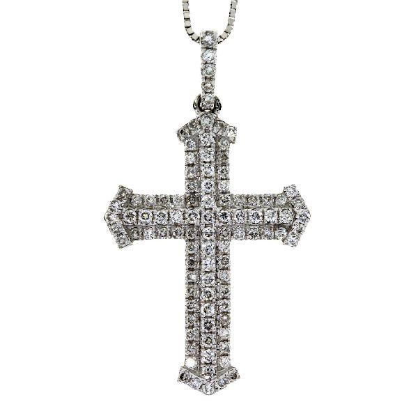 .33 Ct Diamond & 18KT White Gold Cross Religious Pendant 01