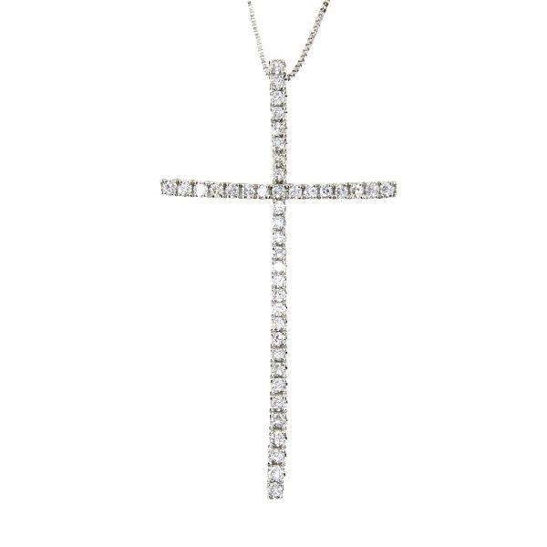 .33 Ct Diamond & 18KT White Gold Cross Religious Pendant 02