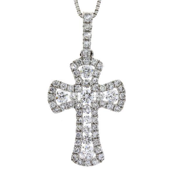.38 Ct Diamond & 18KT White Gold Cross Religious Pendant