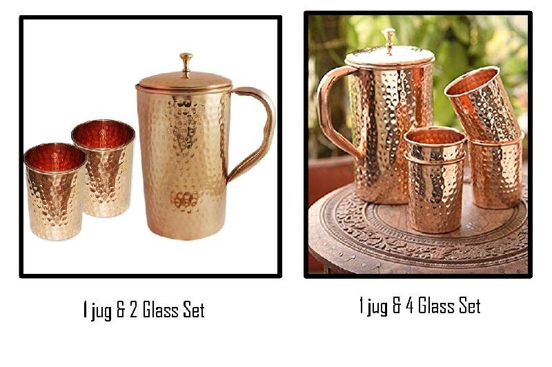 Copper Glass and Jug Set