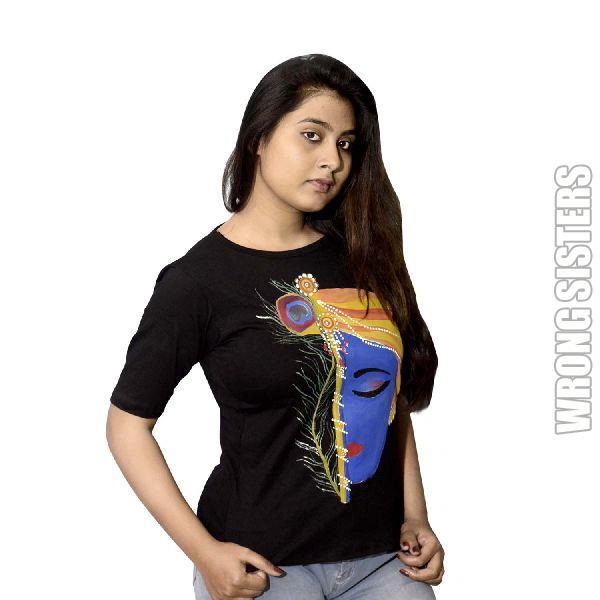Handmade Krishna Printed T-Shirt