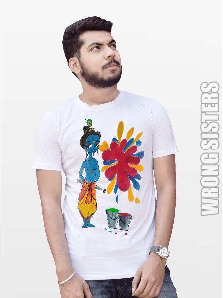 Lord Krishna Printed Holi T-Shirt