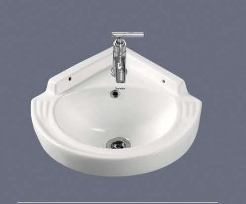 Satin Corner Wall Hung Wash Basin