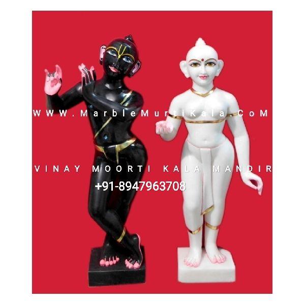 White And Black Iskcon Radha Krishna Marble Statue
