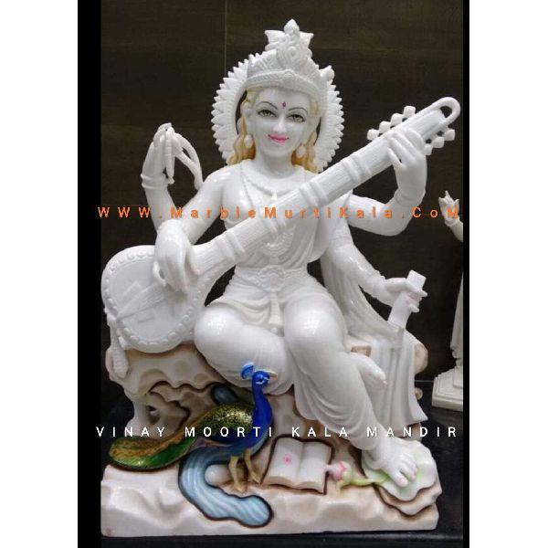 Saraswati Maa Marble Statue