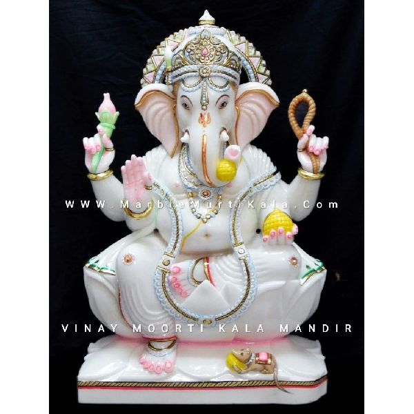 Marble Ganesh ji Sitting on Lotus