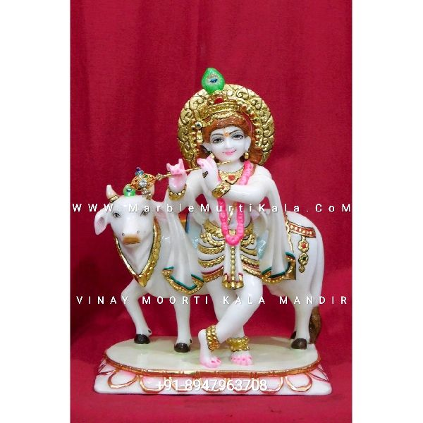 Marble Krishna with Cow Statue