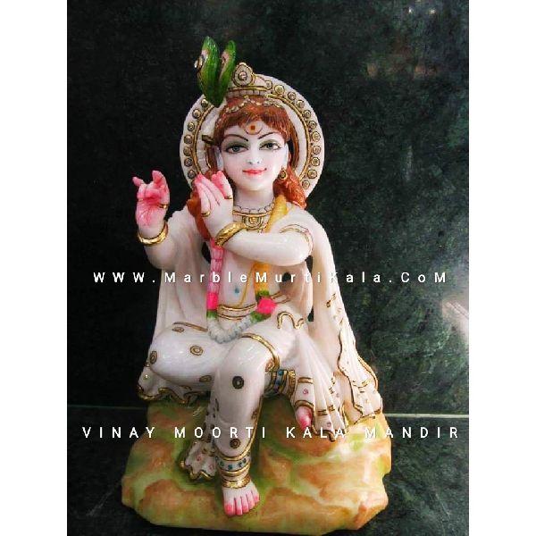 Multicolor Krishna Marble Statue