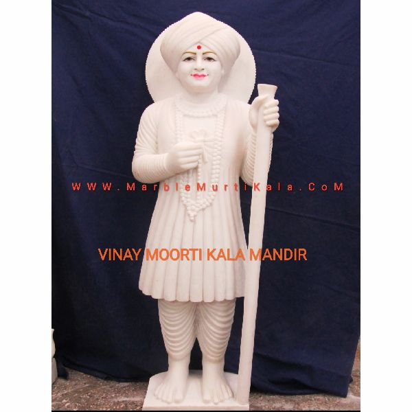 Off White Jalaram Bapa Marble Statue
