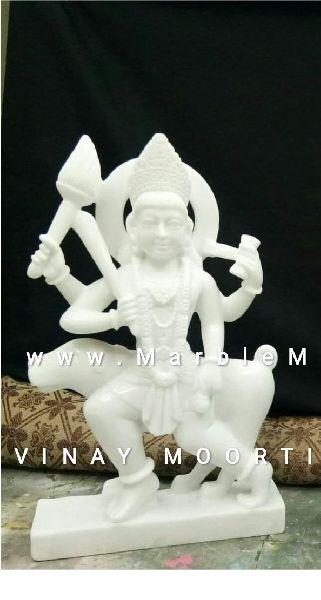 White Kal Bhairav Ji Marble Statue