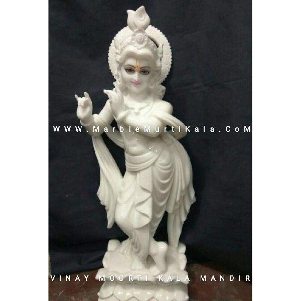 White Krishna Marble Statue