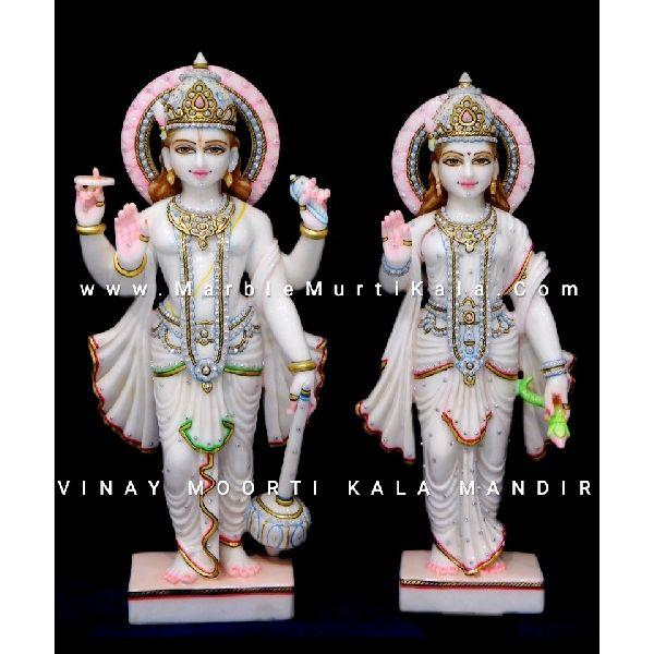 White Laxmi Narayan Marble Statue