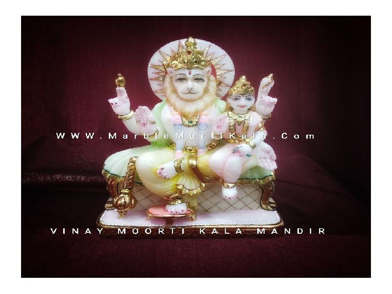 Marble Narsimha Lakshmi Statue
