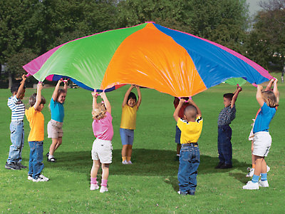 Rainbow Kids Play Parachute