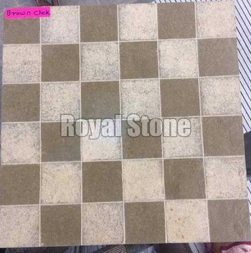 Brown Check Kota Stone Tiles