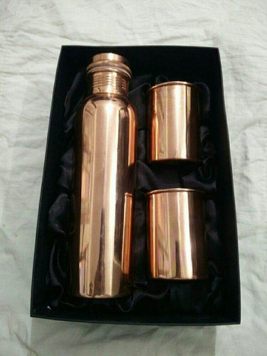 Plain Copper Water Bottle with Glass Set