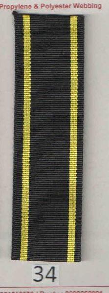 Black Yellow Stripe Polyester Webbing