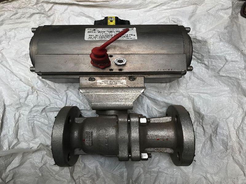 Pneumatic Actuator SS Flange End Ball Valve