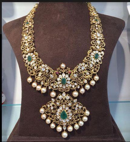 Long Nakshi Pachi Haram Necklaces