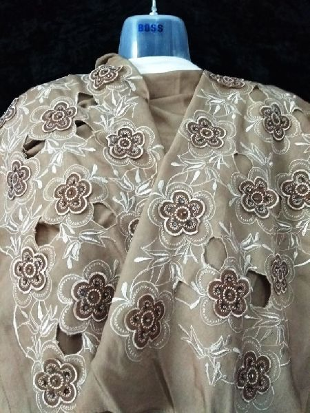 3D Embroidered Brown Stole