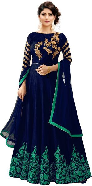 Blue with Green Embroidered Anarkali Suits