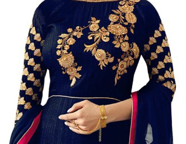 Blue with Pink Embroidered Anarkali Suits