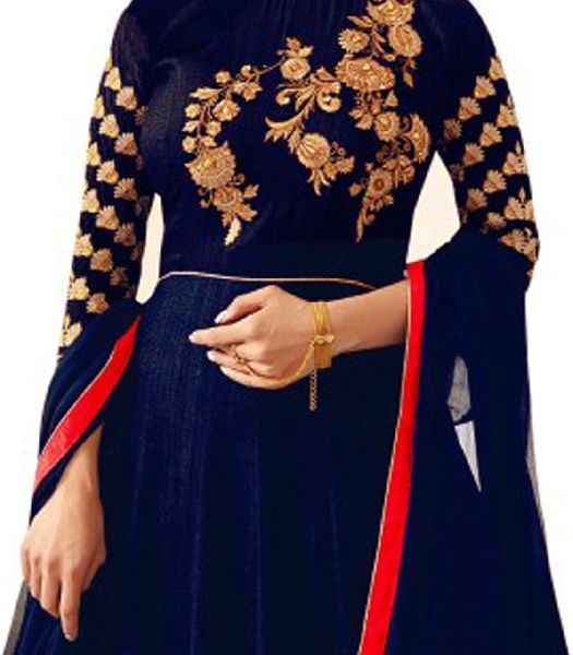 Blue with Red Embroidered Anarkali Suits