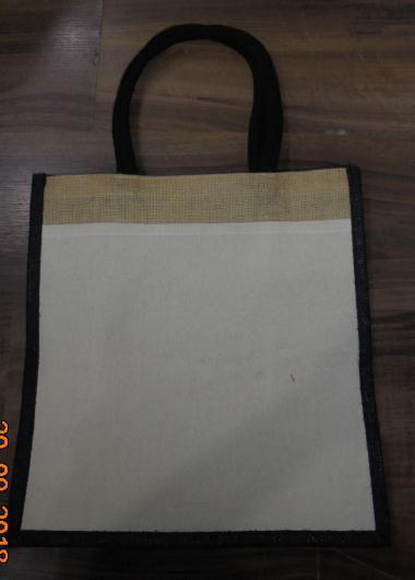 Laminated Natural Jute Bag with Black Dyed Gusset